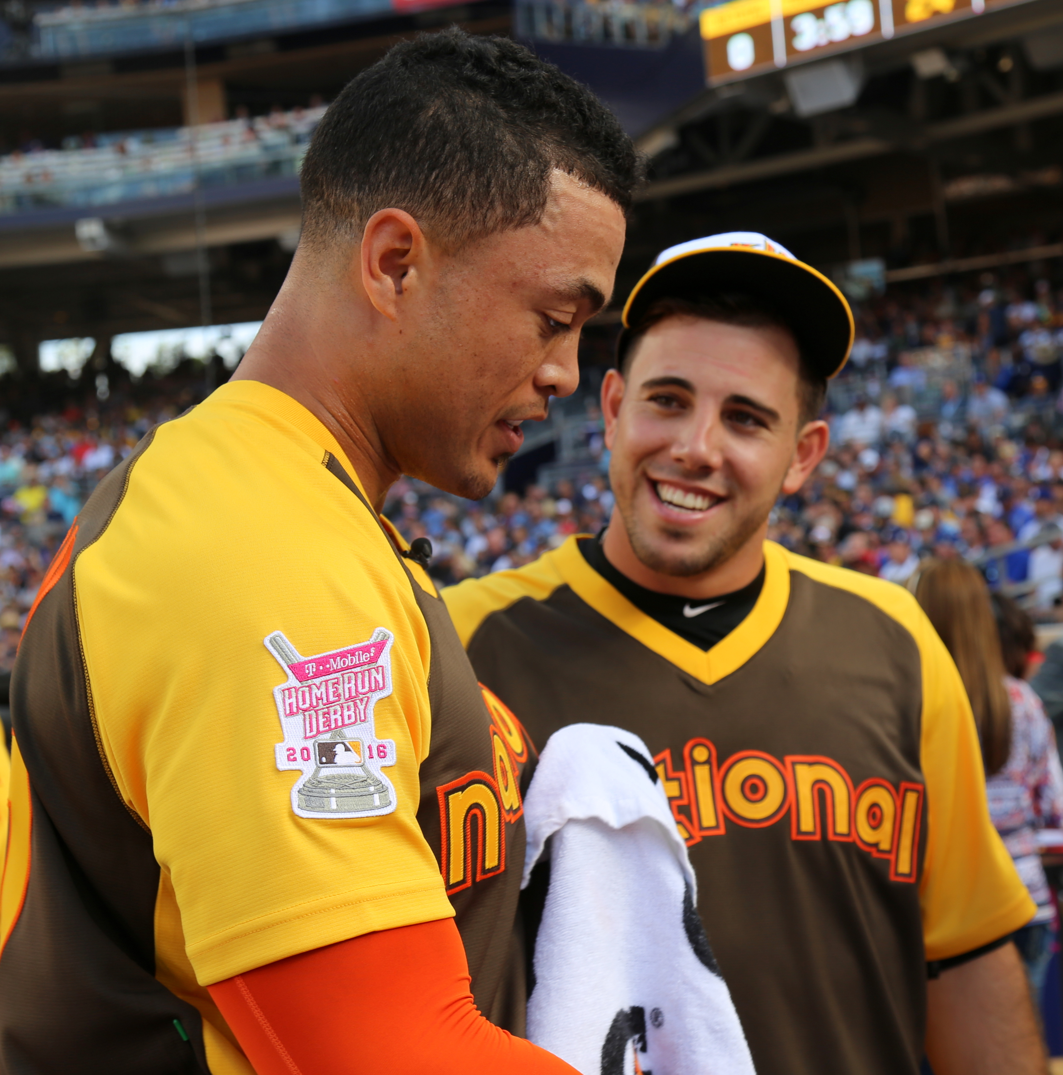 FileGiancarlo Stanton chats with Jose Fernandez during the T