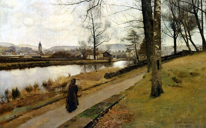 """James Paterson, """"The Last Turning, Winter, Moniaive,"""" 1885."""