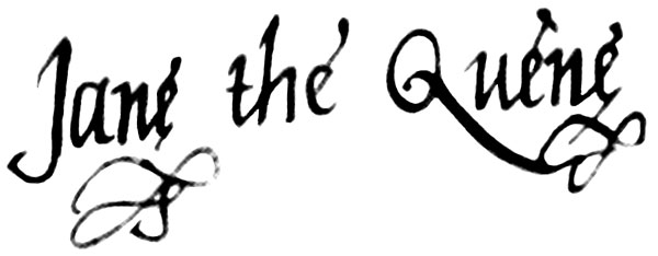 Firma de Juana I de Inglaterra