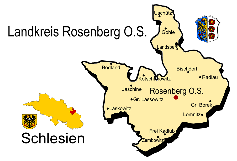 Polen Karte Umriss.Landkreis Rosenberg O S Wikipedia