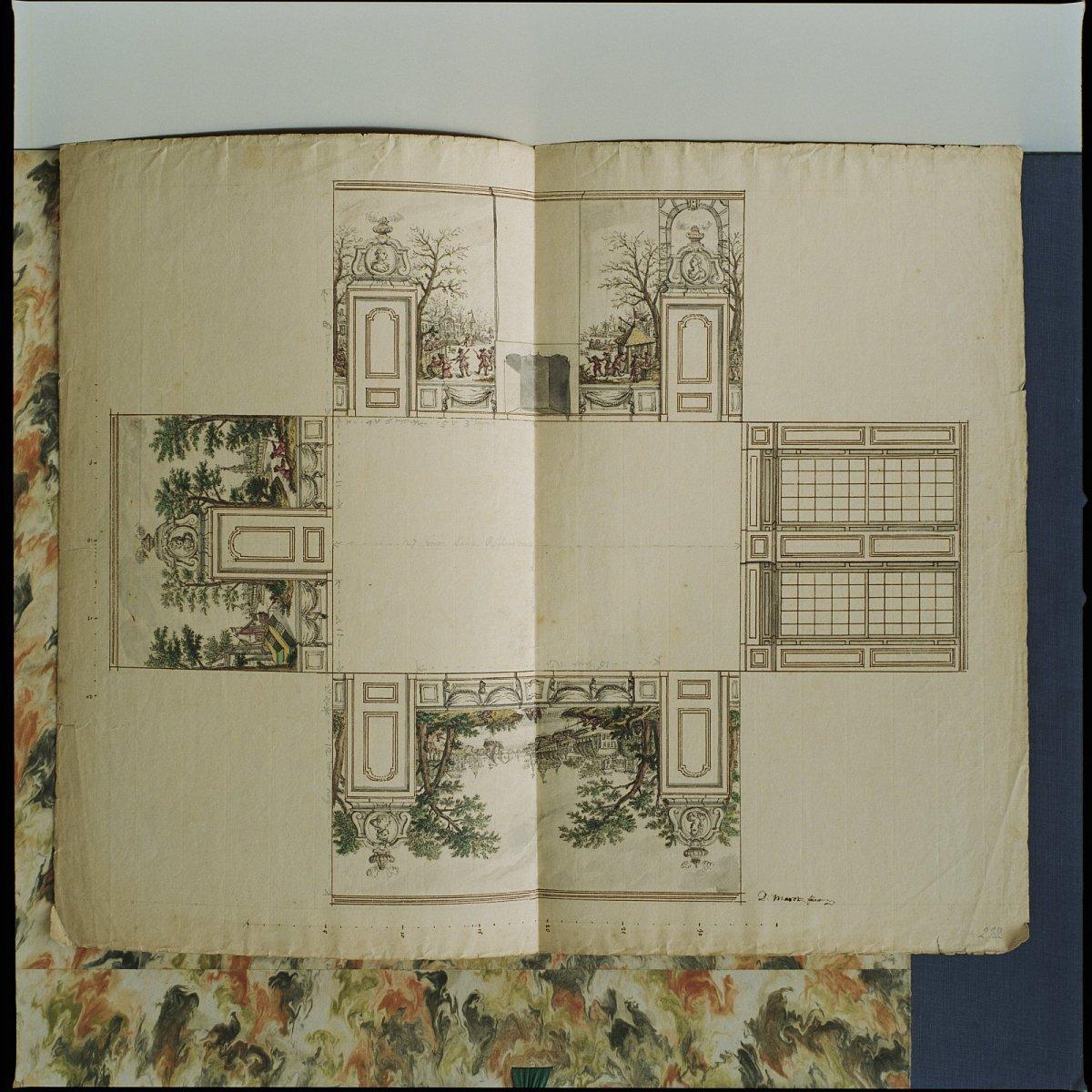 File kleuren tekening ontwerp voor een beschilderde kamer circa 1760 door daniel marot jr for Kleuridee voor volwassen kamer