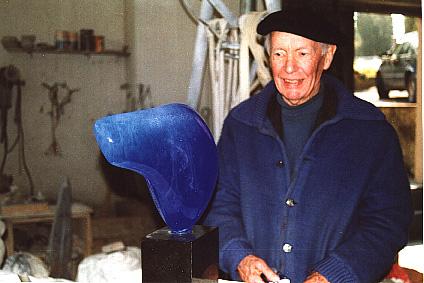 Lucien WERCOLLIER poisson pate-de-verre 1995 luxembourg sculpture