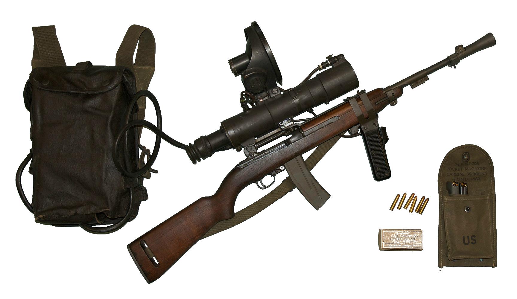 M3 Karabina s infra červenou zaměřovací optikou, M3 Carbine with infrared sniper scope, Autor: Curiosandrelics, licencováno pod Creative Commons