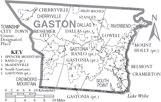 File:Map of Gaston County North Carolina With Municipal and Township Labels.PNG