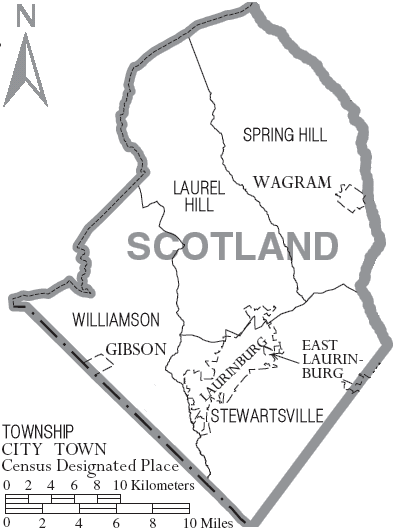 Archivo:Map of Scotland County North Carolina With Municipal and Township Labels.PNG