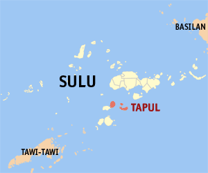 Map of Sulu showing the location of Tapul
