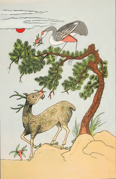 Pinus armandii with Deer and Red-Crested Crane