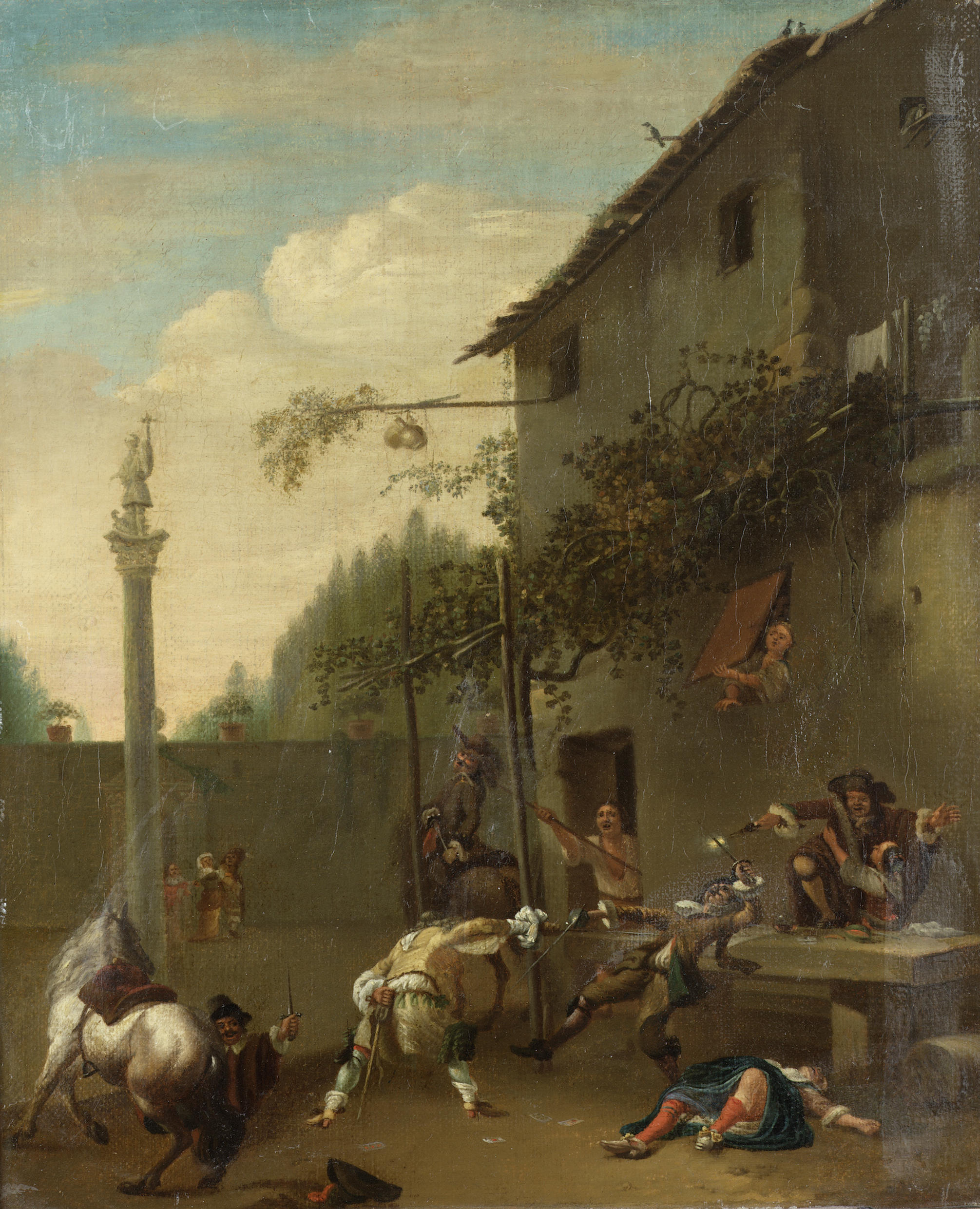 File:Roeland van Laar - soldiers fighting outside an inn jpg