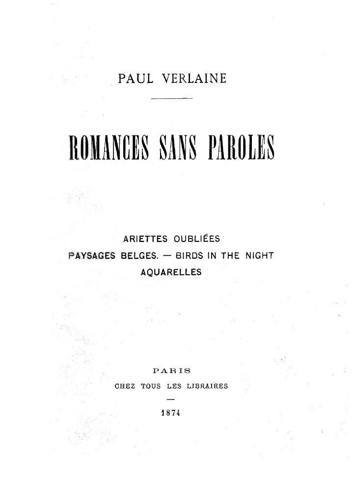 Romances Sans Paroles Verlaine Wikipédia