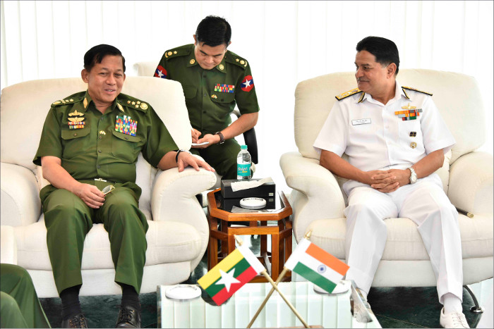 File:Senior General Min Aung Hlaing Commander-in-Chief Myanmar Armed Forces interacting with Vice Adm HCS Bisht FOC-in-C ENC.jpg