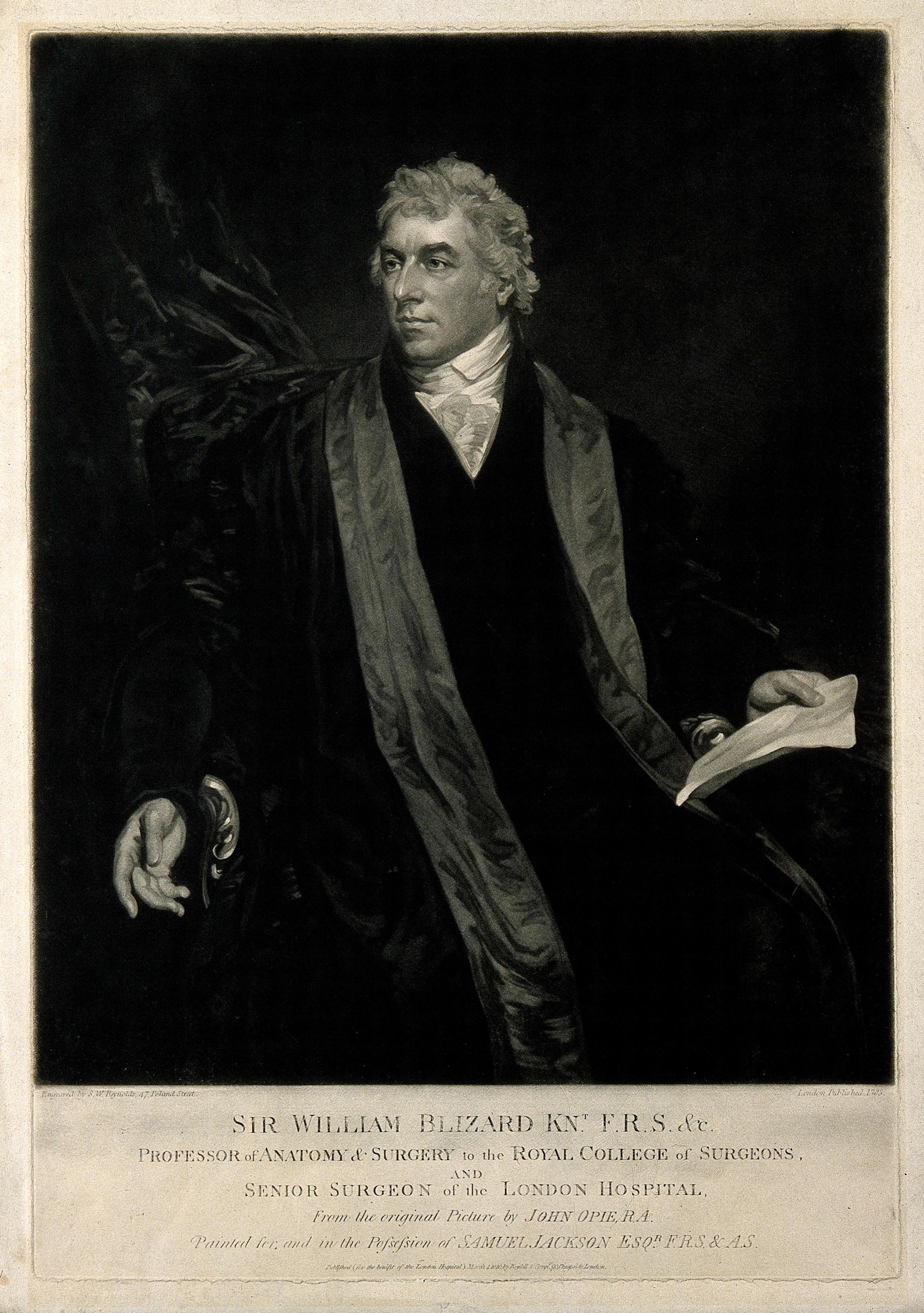 Sir William Blizard. Mezzotint by S. W. Reynolds