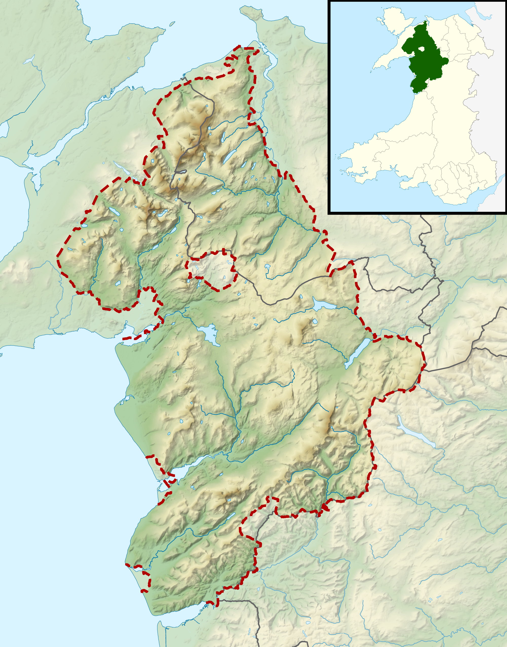 map of snowdonia national park wales uk