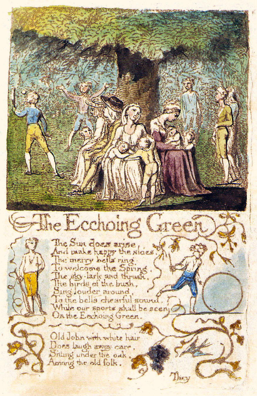 an analysis of the poem the echoing green from songs of innocence by william blake William blake's the echoing green the poem 'the echoing green' is written by william blake it is taken from songs of innocence it is divine voice of childhood.