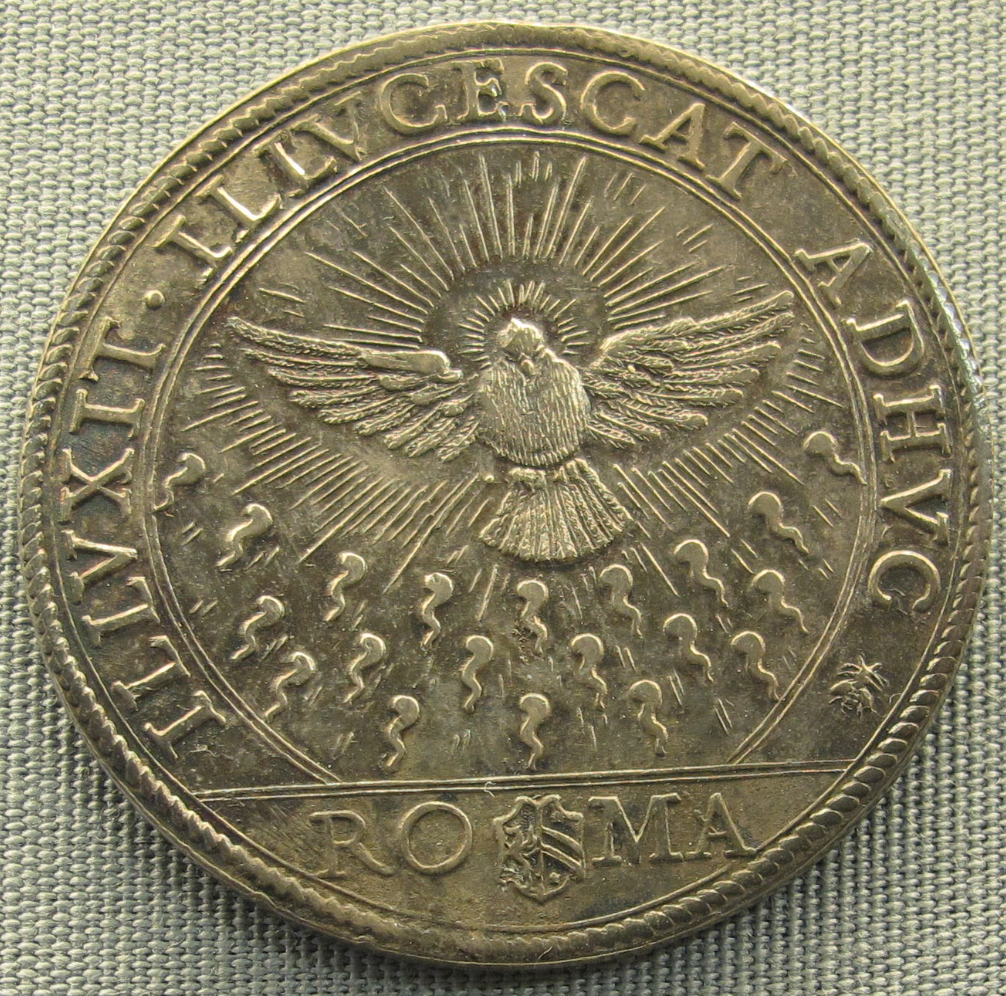 Medieval coin with design of dove descending and tongues of fire.