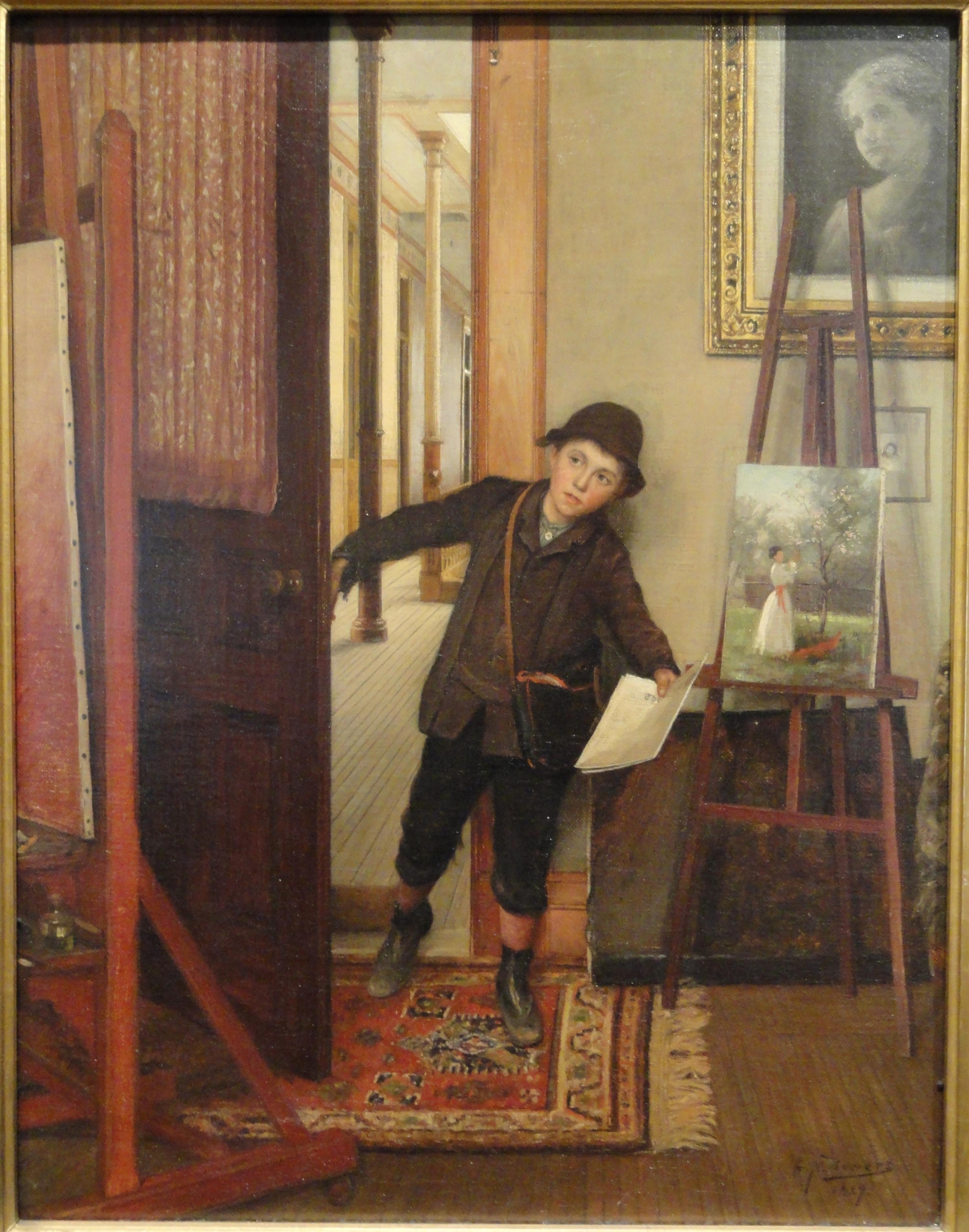 The Newsboy, George Newell Bowers, 1889