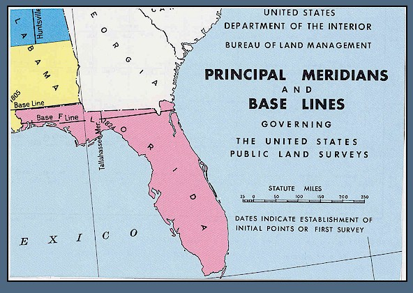Meridians and base lines of the United States