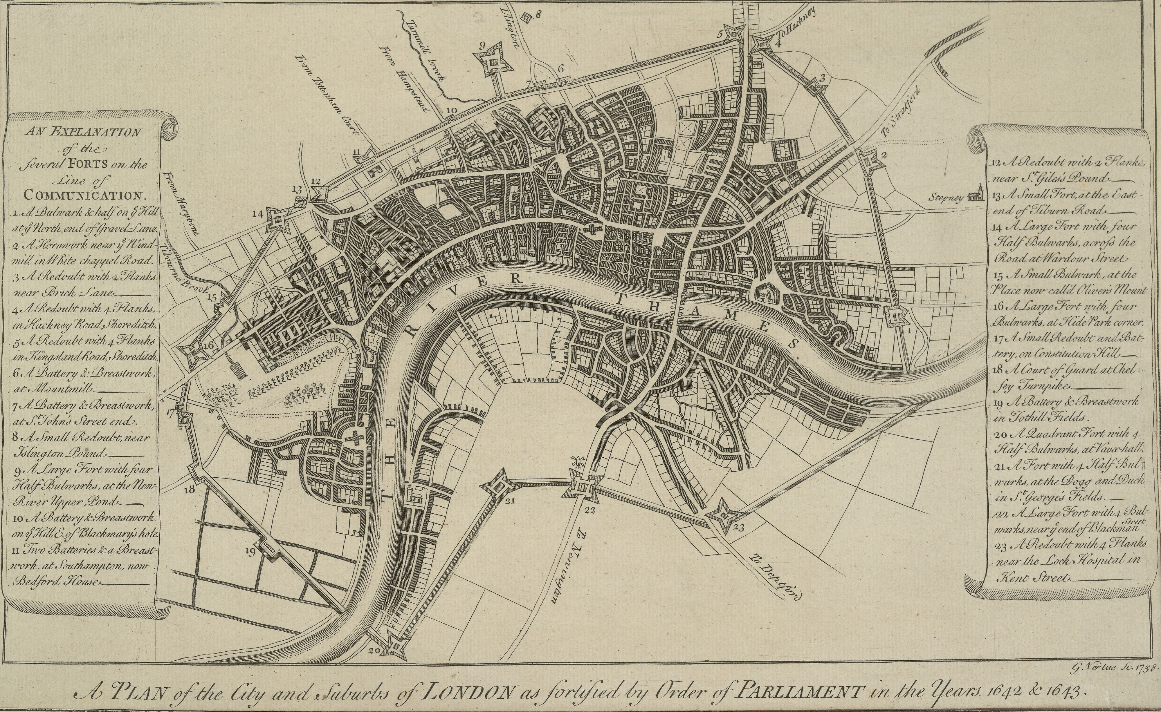 vertue 27s 1738 plan of the london lines of communication jpg