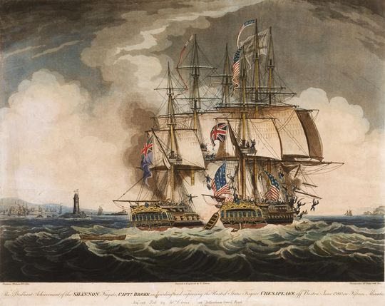 An 1813 illustration of the battle between Shannon and Chesapeake W Elmes, The Brilliant Achievement of the Shannon ... in Boarding and Capturing the United States Frigate Chesapeake off Boston, June 1st 1813 in Fifteen Minutes (1813).jpg