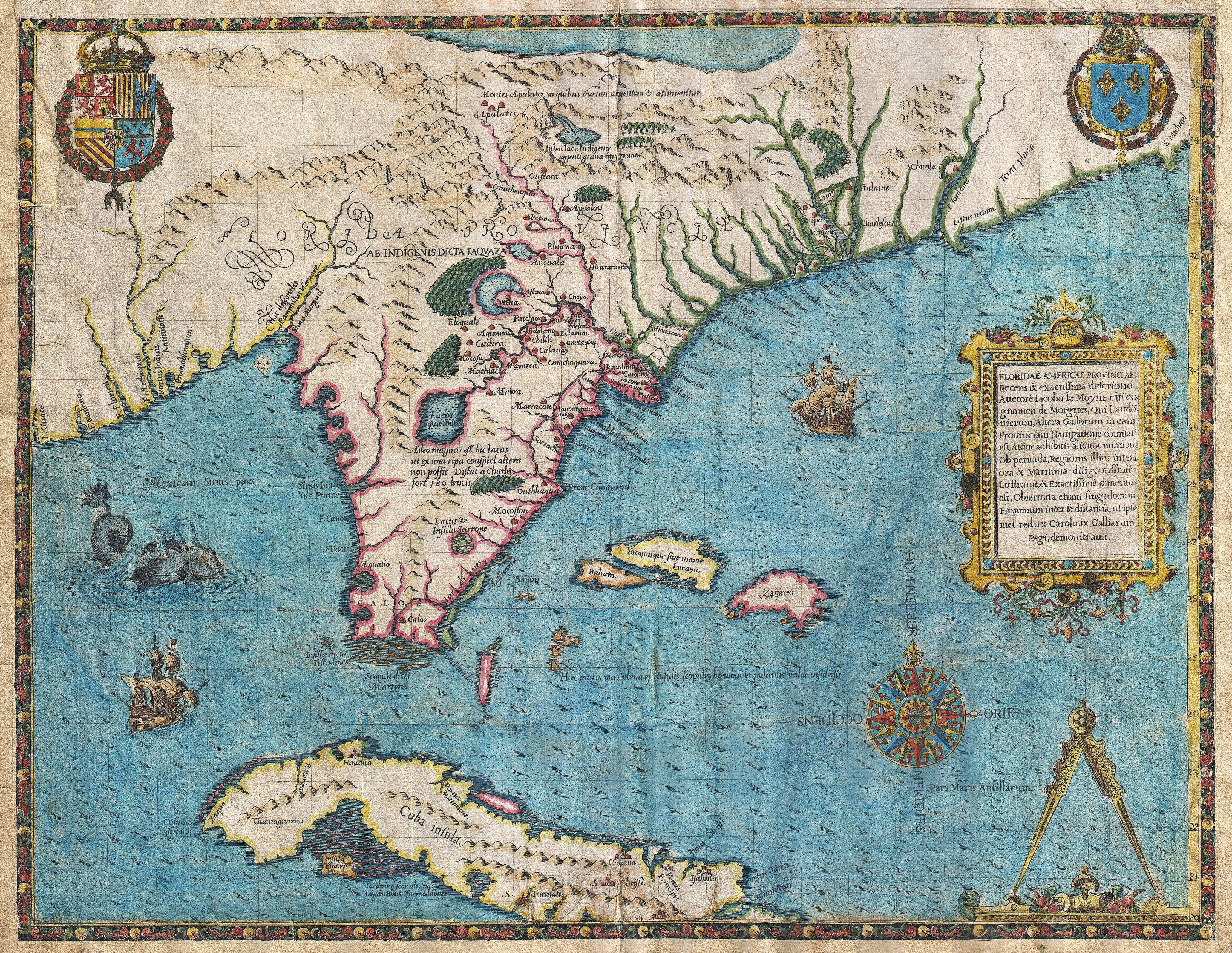 Fasciculus:1591 De Bry and Le Moyne Map of Florida and Cuba - Geographicus -