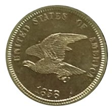 Pattern coins with a smaller eagle were prepared in 1858; the bird was thought too scrawny.