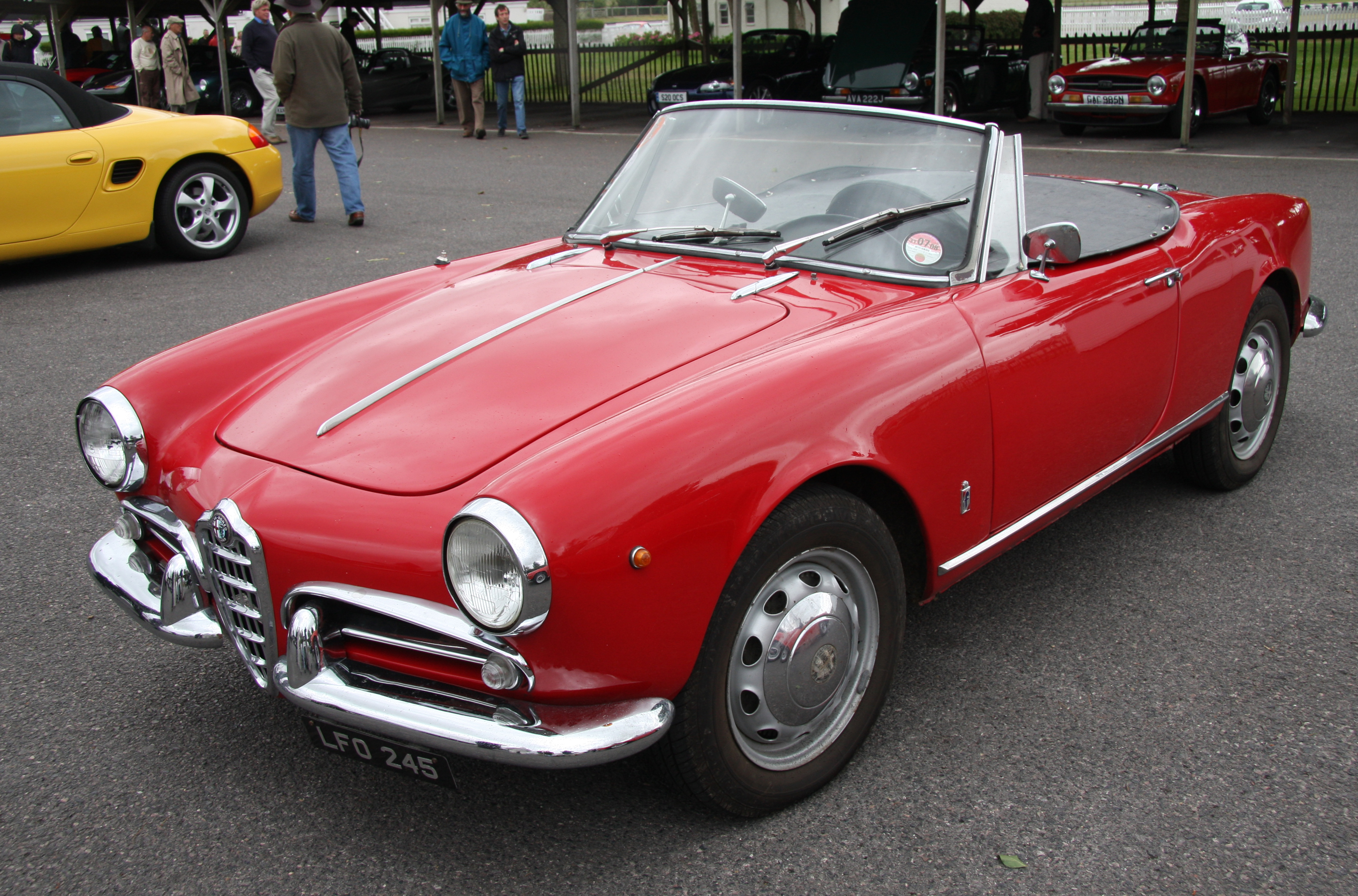 Picture of red roadster Alfa Romeo Giulietta, classic car, retro car