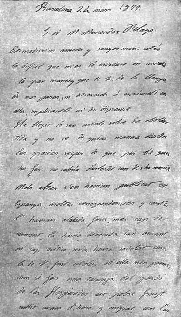180pxCarta autógrafa de Jacinto Verdaguer a Menéndez Pelayo.