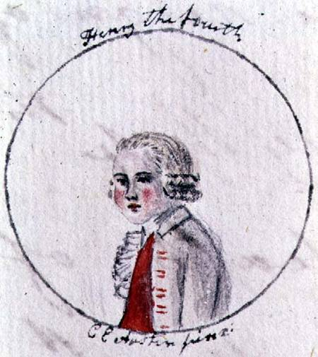 "Portrait of Henry IV by Austen's sister Cassandra, c. 1790. (Wikimedia Commons) An illustration to Austen's youthful satire The History of England by ""a partial, prejudiced & ignorant Historian."""
