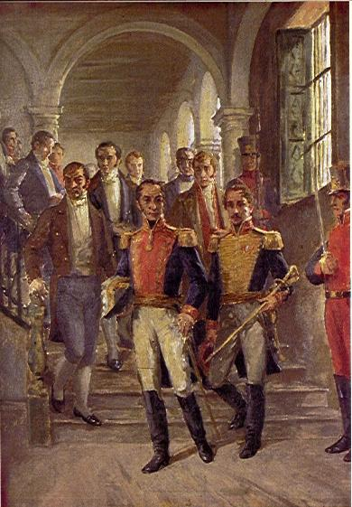 سیمون بولیوار و فرانسیسکو د پولو سانتاندر در کنگره Cúcuta.