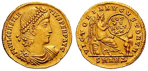 Solido di Costanzo II, in celebrazione del suo quindicesimo anno di regno.