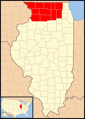 Map of the Catholic diocese of Rockford in the...