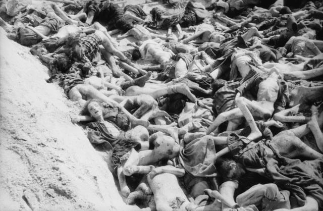 Eines von 3 Massengr%C3%A4bern in Bergen-Belsen, so wie es von den Befreiern vorgefunden wurde, 1945.jpg