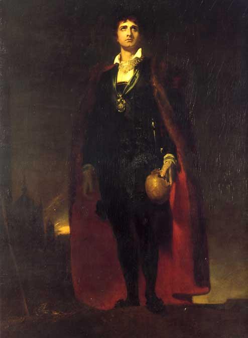 English actor John Philip Kemble as Hamlet in 1802 %28collor%29
