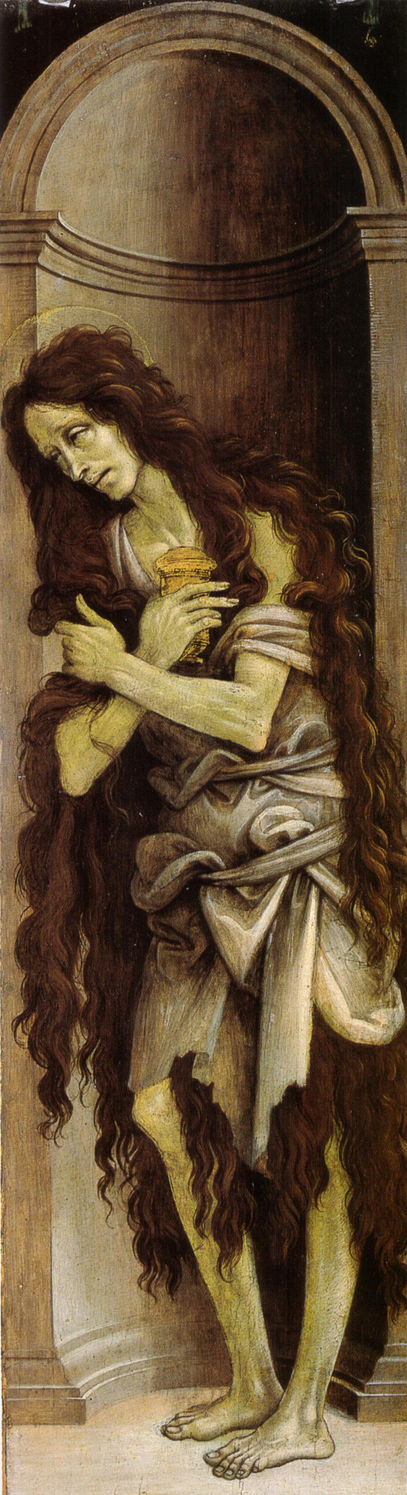 Filippino Lippi, Maria Maddalena, 1500 circa, olio su tavola, 133×38 cm, Galleria dell'Accademia, Firenze