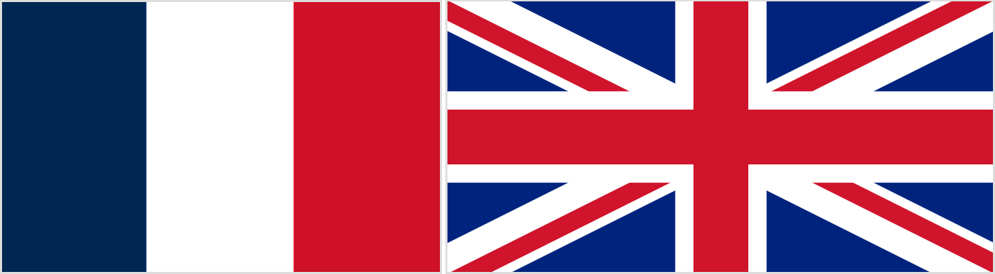the image is of a French flag and a UK flag