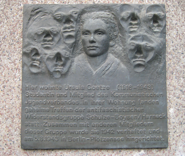 Gedenktafel für Ursula Goetze in der Hornstr. 3 (Kreuzberg)