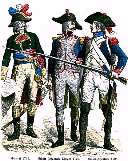 French Revolutionary general, officer d'infanterie legere and soldier of a demi-brigade de ligne. General, Officer d'Legere, Soldat d'Ligne.jpg