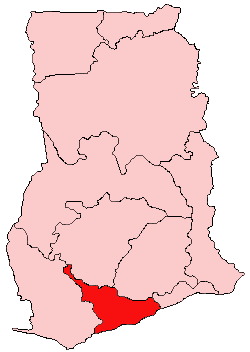 Location of Central Region in Ghana