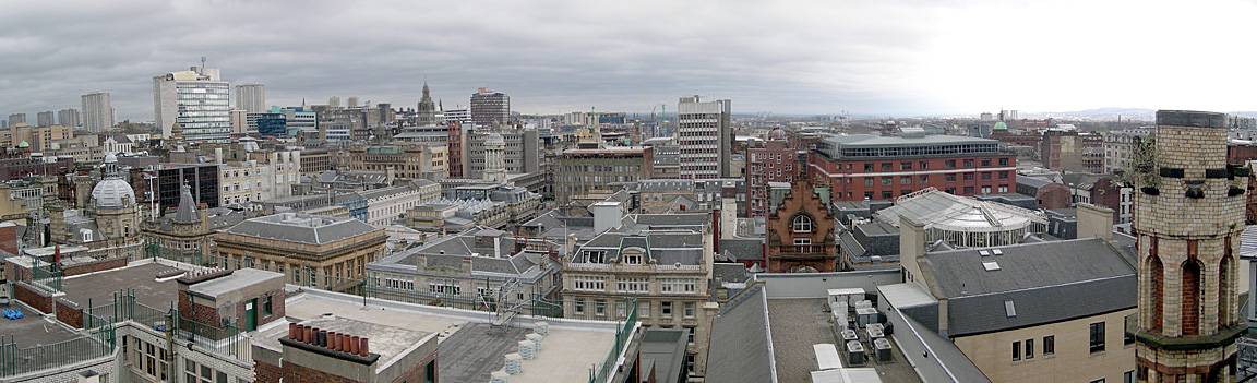 A panoramic view of Glasgow City Centre from the top of The Lighthouse