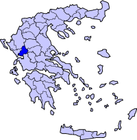 Location of Arta Prefecture in Greece