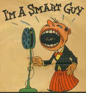 1920s cartoon, showing man standing at microph...
