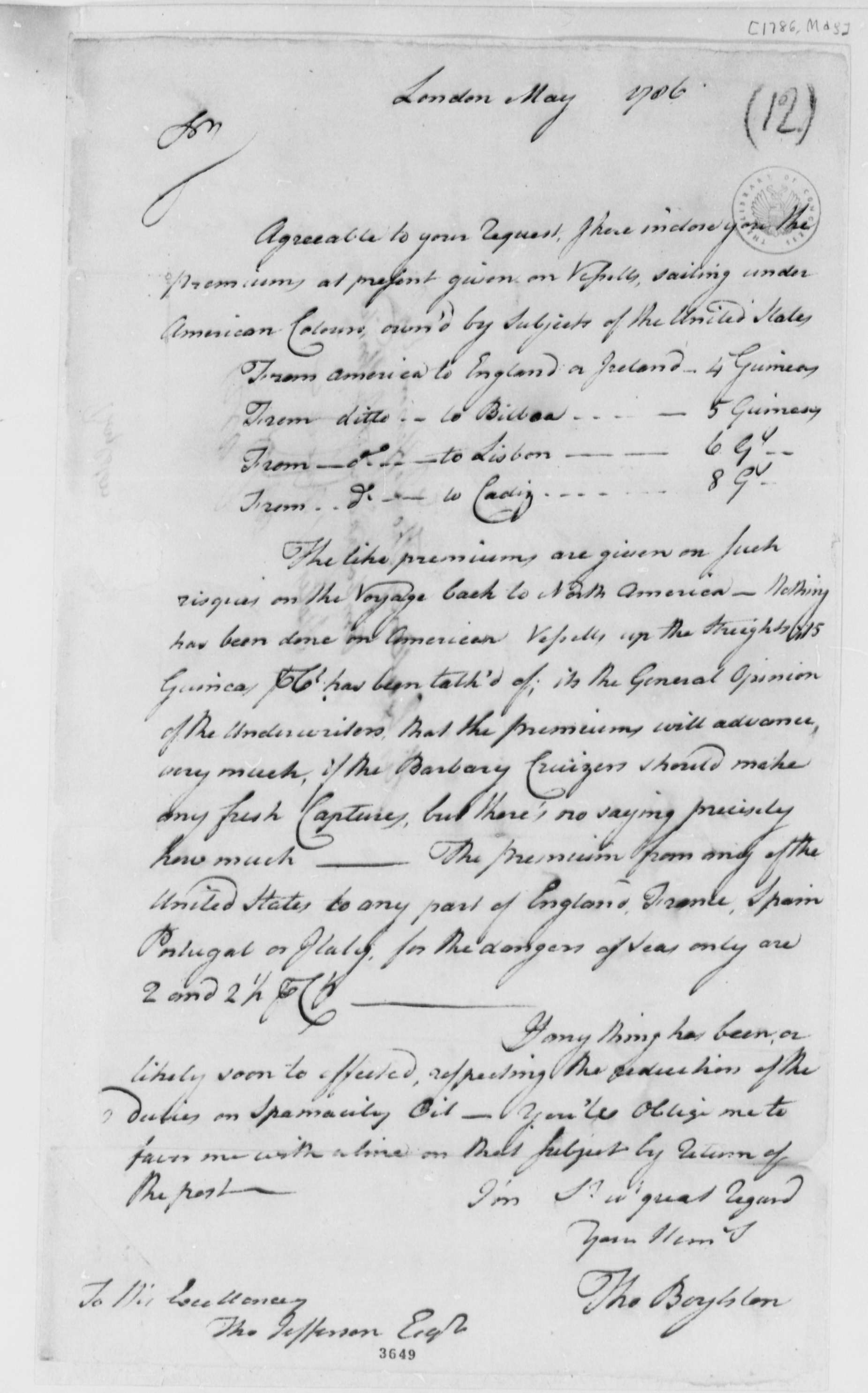 A sample insurance contract. Documents such as this helped traders survive losses.