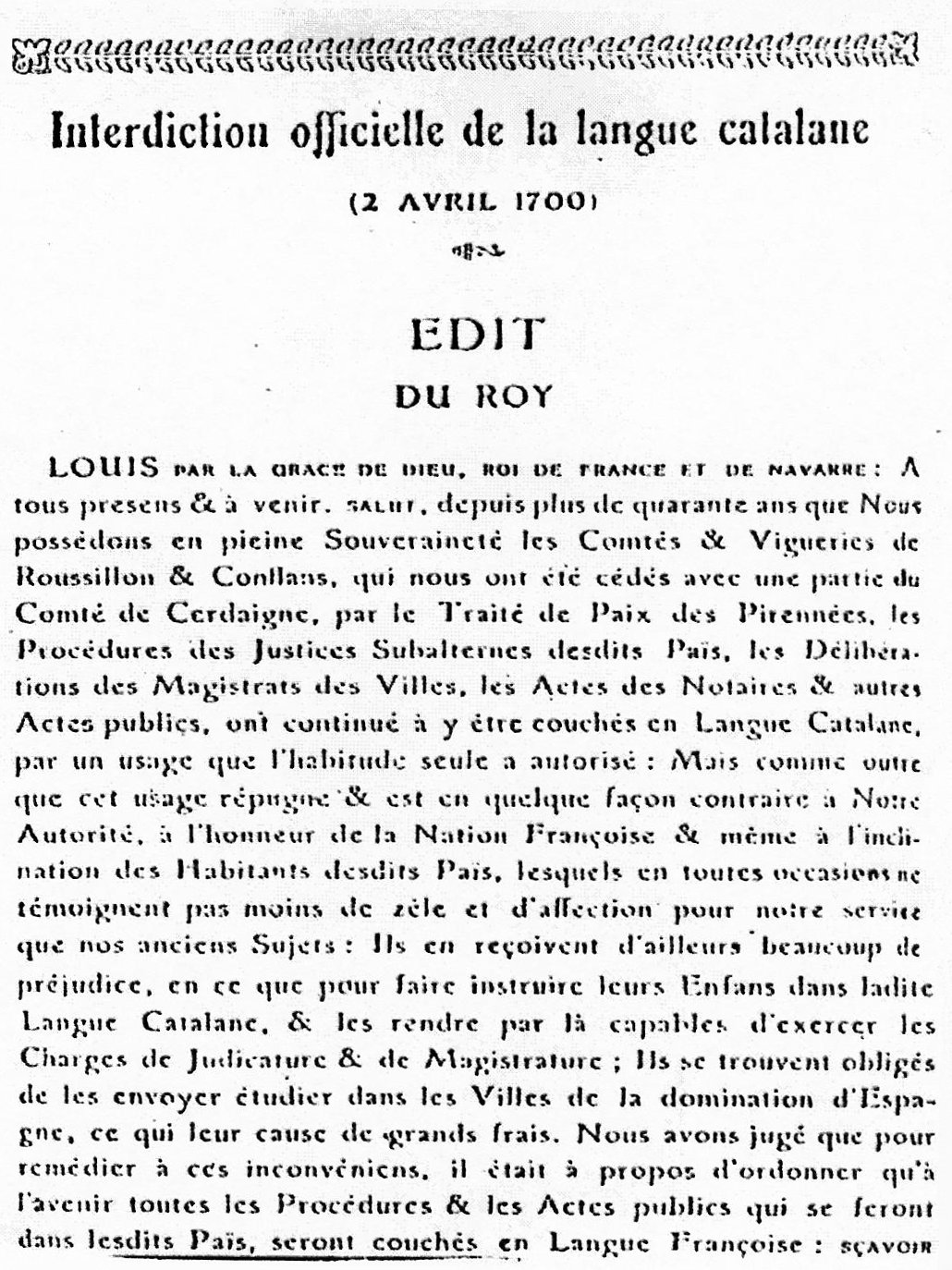 Official Decree Prohibiting The Catalan Language In France