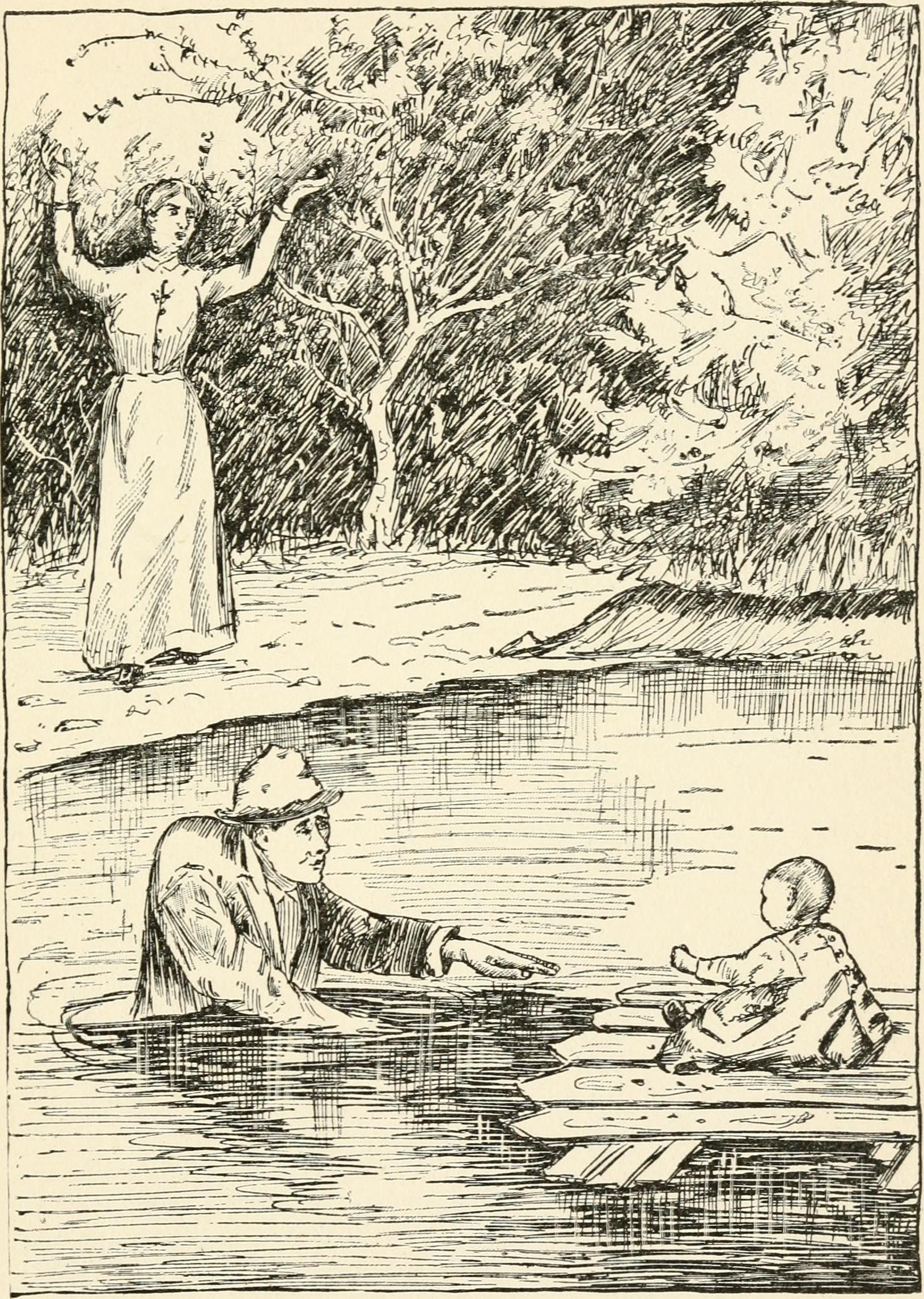 Mother with hands in the hair on the riverbank while Jack wades into the water to rescue a child floating on a section of fence.
