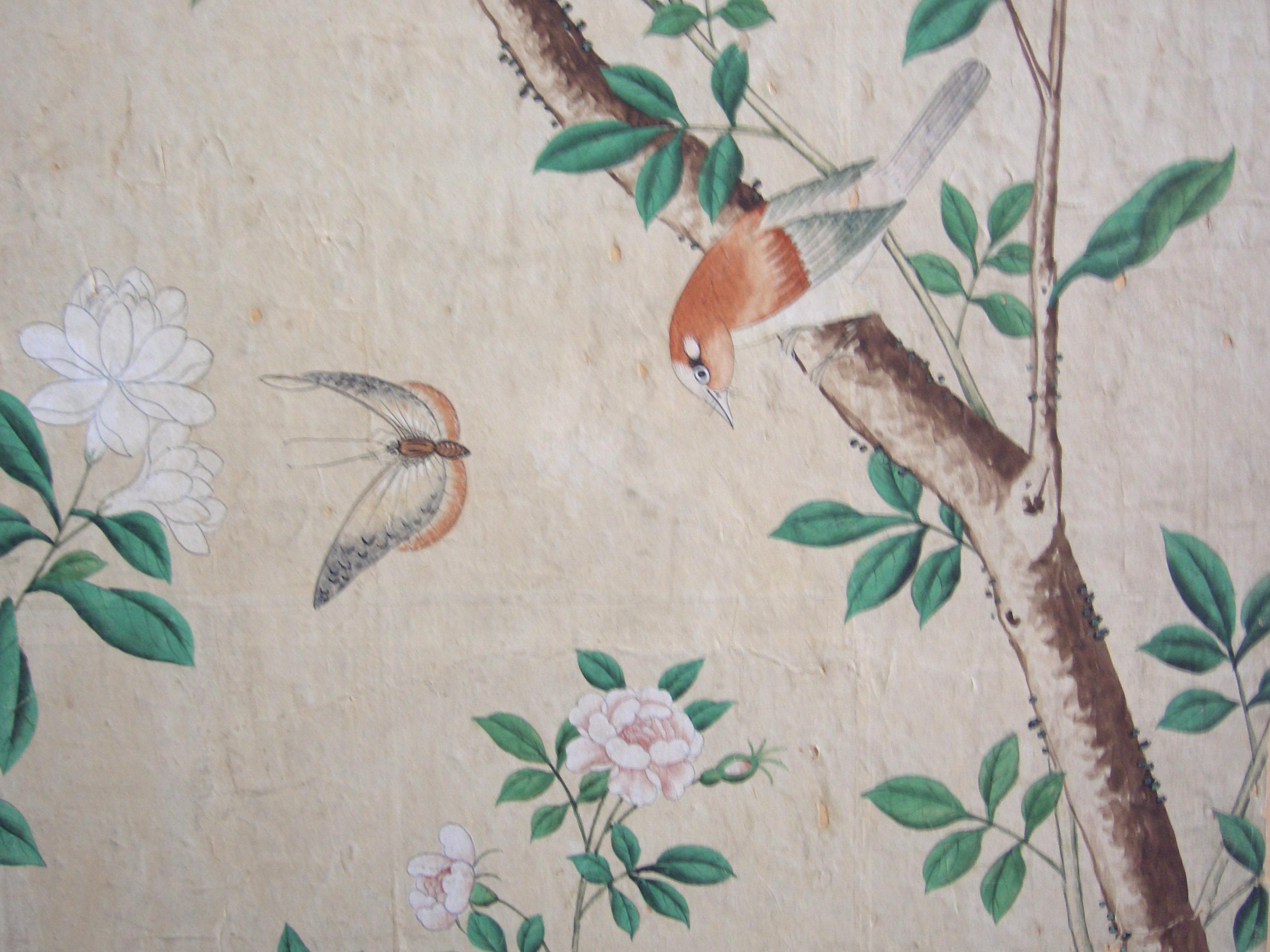 Chinese Wallpaper showing birds and plants. Qianlong period, approx. 1780