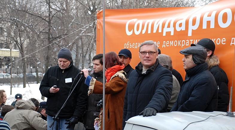 Michail Kasjanow 2009 auf einer Oppositionskundgebung