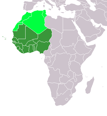 Map of Africa with the western countries highlighted