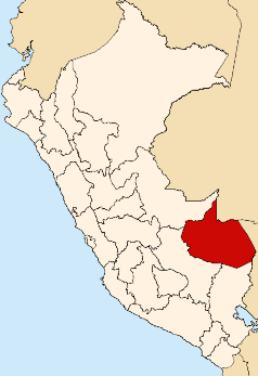 Location of the Madre de Dios region in Peru