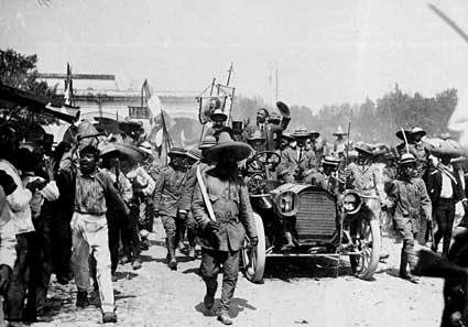 Francisco I. Madero, Emiliano Zapata, in Cuernavaca. Zapata rebelled against Madero in 1911, because of Madero's slowness to implement land reform. Madero en Cuernavaca.jpg