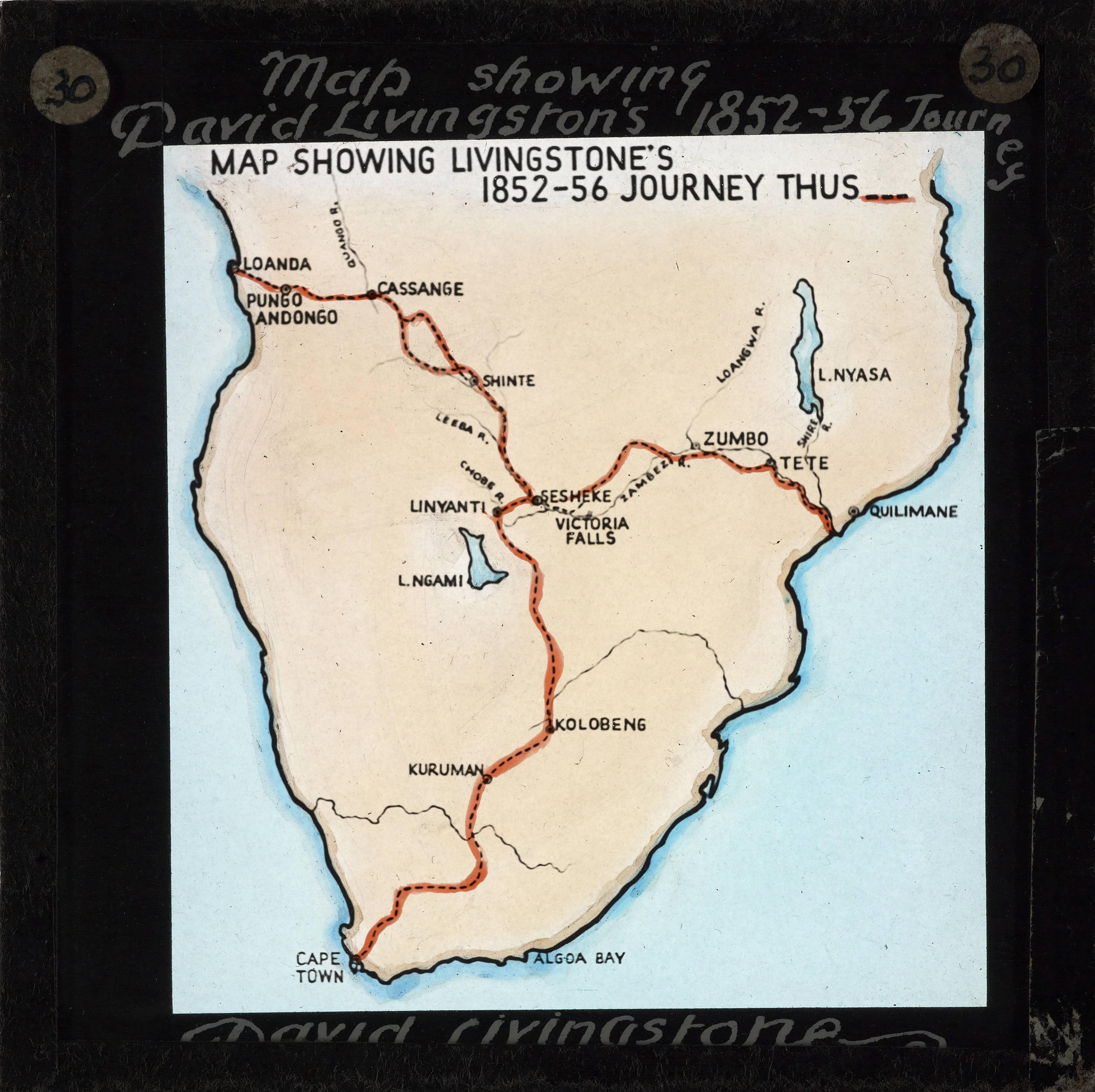 Livingstone Africa Map File:Map Showing David Livingstone's Journey, Africa, ca.1852 ca