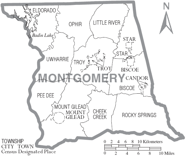 FileMap of Montgomery County North Carolina With Municipal and